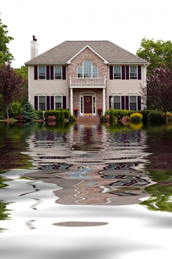 Floodwater entering a house