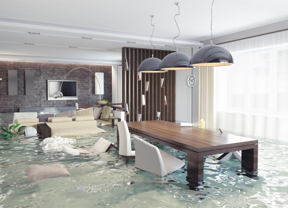 A house flooded with dining chairs and sofas destroyed